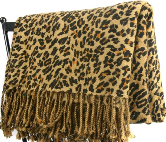Leopard Print Cashmere Throw